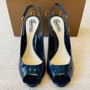 Gucci Patent Peep Toe Slingbacks